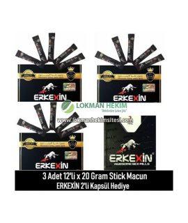 Erkexin 3 Adet 12'li X 20 Gram Stick Macun + 2'li Kapsül Hediye