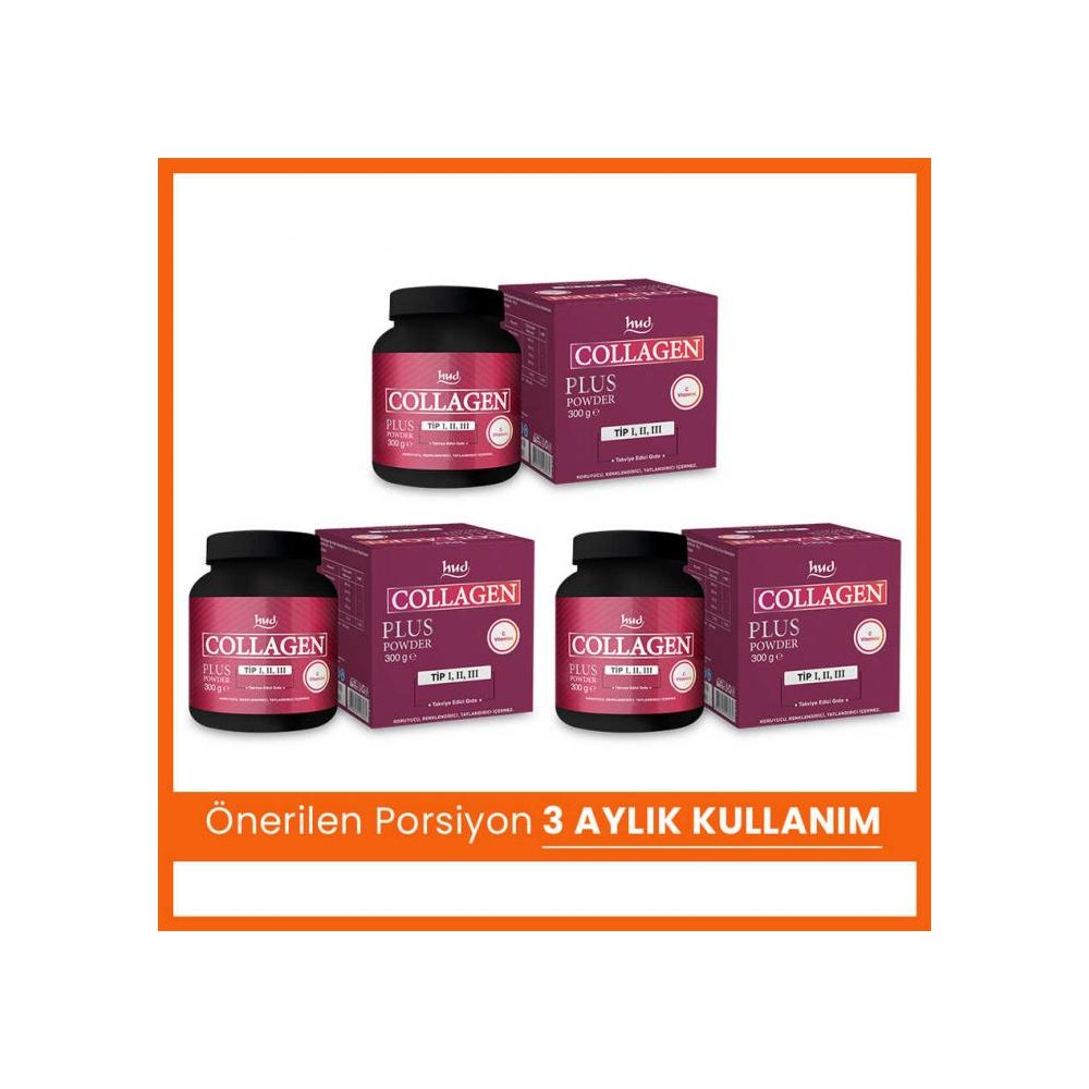 Hud Collagen Plus Powder 300 g - Toz Kolajen (3 Adet)
