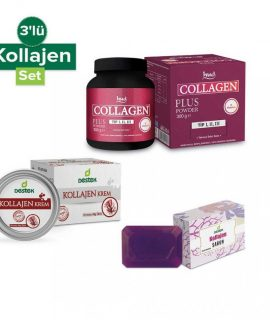 3'lü Kolajen Seti Hud Collagen Plus 300 Gr + Destek Collagen Krem 50 ml + Destek Collagen Sabun 150g
