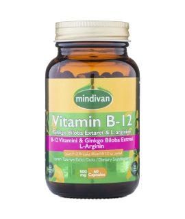 Mindivan Vitamin B12 &Ginkgo Bloba Ekstresi & L Arginin 60 Kapsül x 500 mg