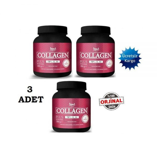 3 Adet Hud Collagen Plus 3x300 gr TozKollajen Tip 1,2,3 Kollajen Collagen